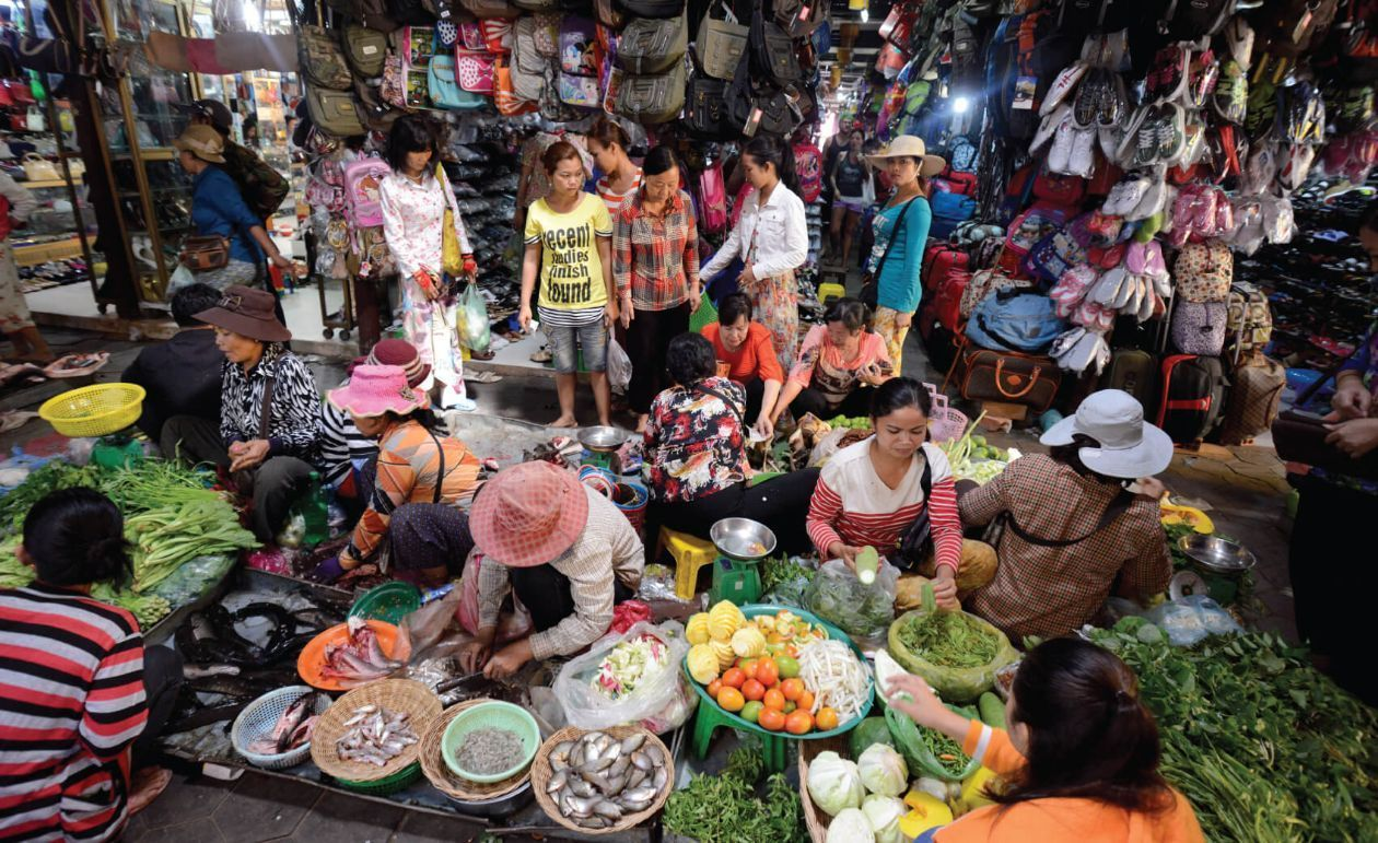 The Food Market and Boutique shops in the Psar Chaa or Old Market in the City of Siem Reap in Cambod