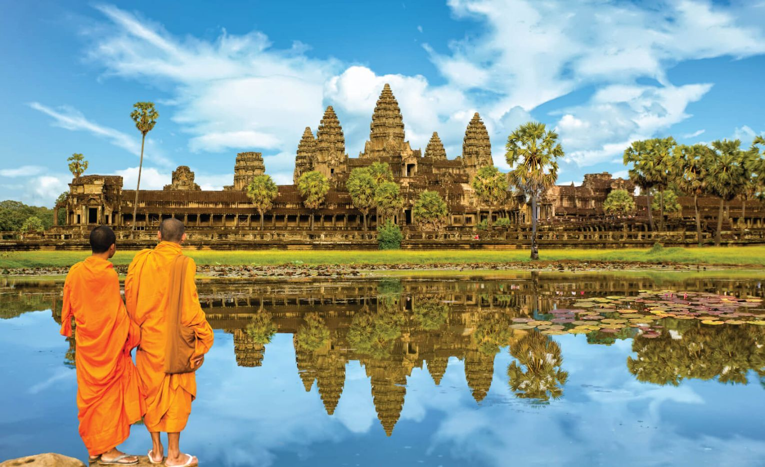 Angkor Wat is a temple complex in Cambodia and the largest religious monument in the world.