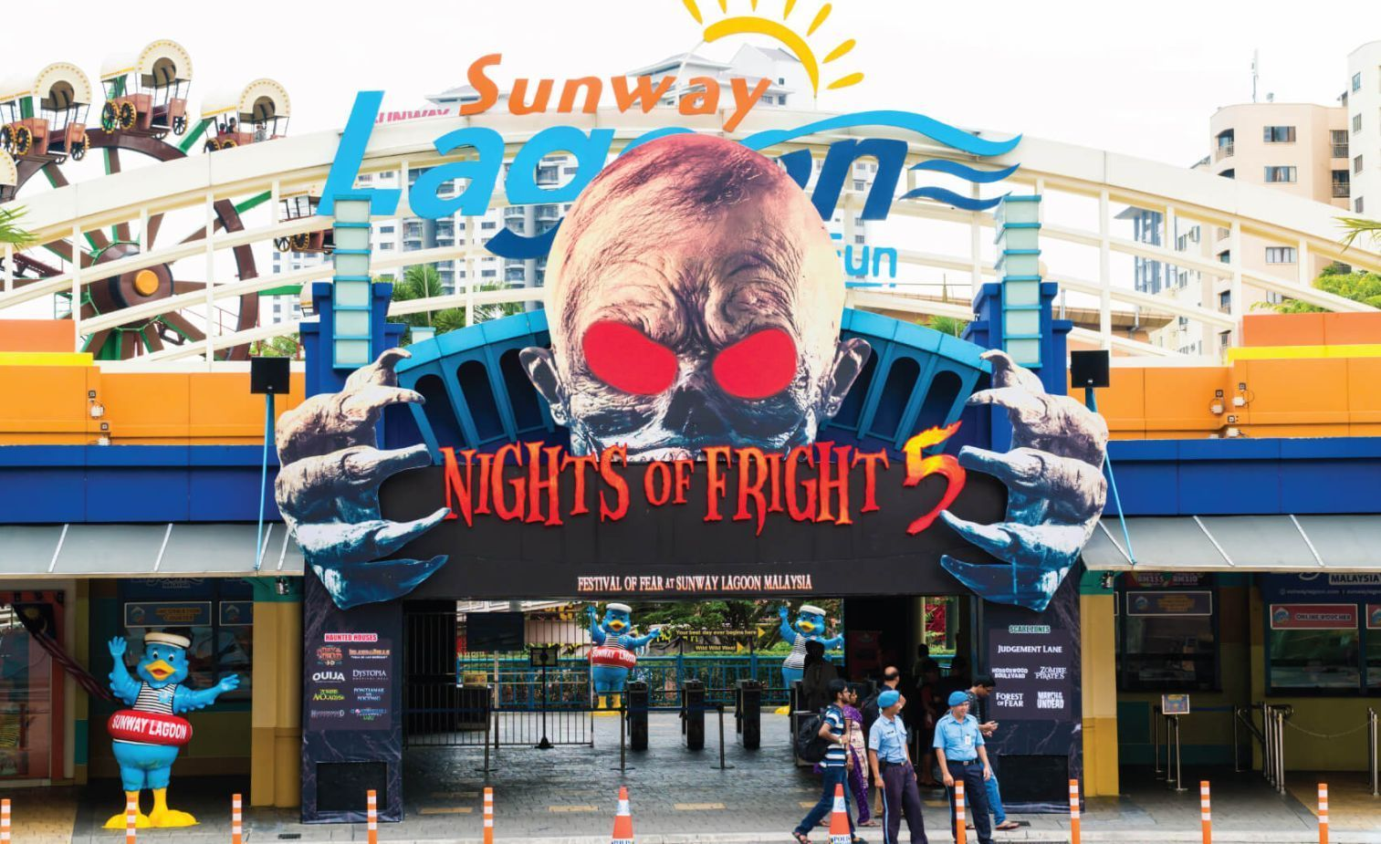 Sunway Lagoon theme park entrance, with Festival of Fear Billboard
