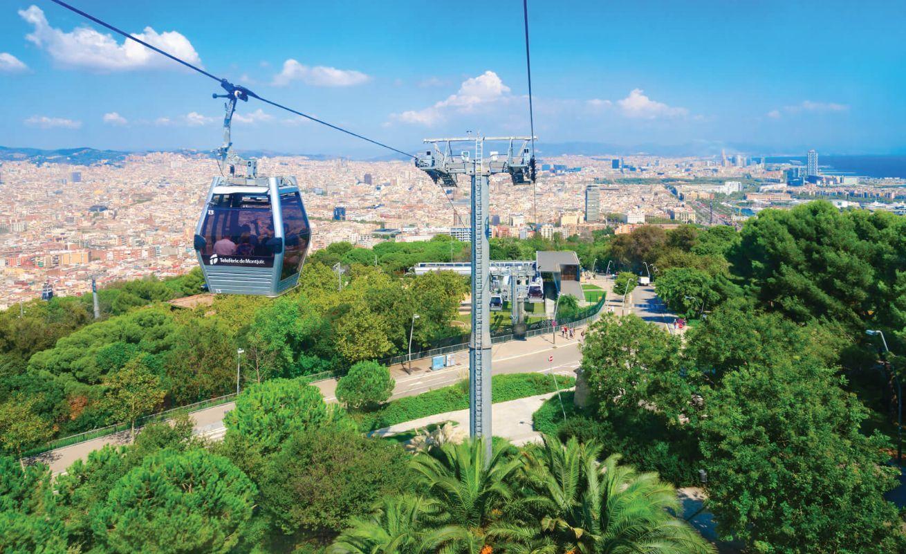 cable car (Teleferic de Montjuic) from mountain of Montjui¨c, Barcelona, Spain