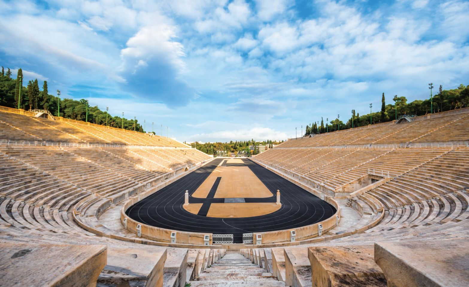 Panathenaic stadium in Athens, Greece (hosted the first modern Olympic Games in 1896)