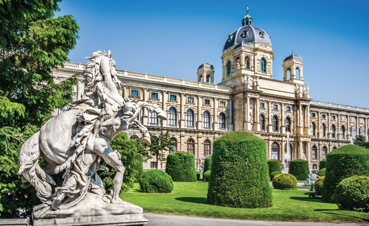 Beautiful view of famous Naturhistorisches Museum (Natural History Museum) with park and sculpture i