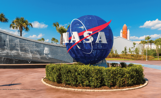 NASA Logo on Globe at Kennedy Space Center Visitor Complex in Cape Canaveral, Florida