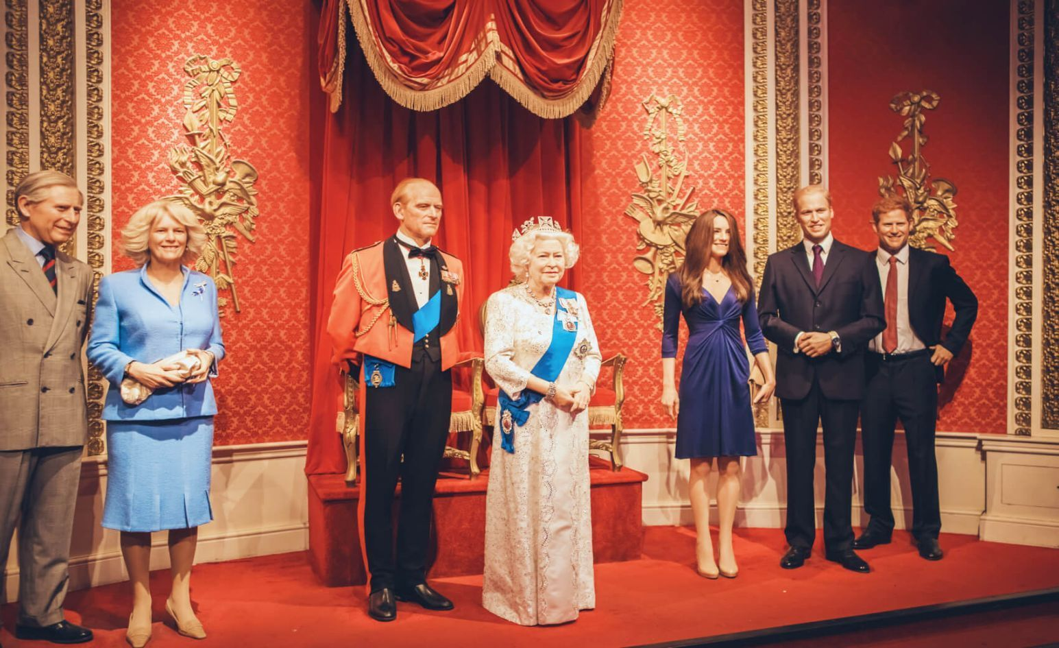 British royal family in Madame Tussauds wax museum in London