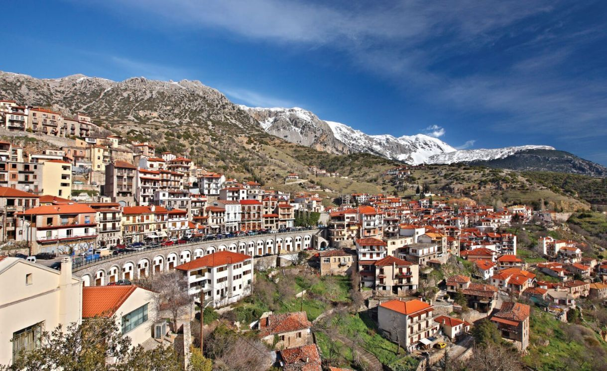Partial view of Arachova, the most popular winter resort in Greece
